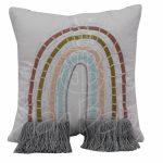 Almofada bordada arco íris com franja